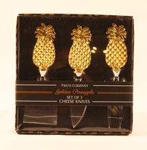 Load image into Gallery viewer, Golden Pineapple Set of 3 Cheese Knives