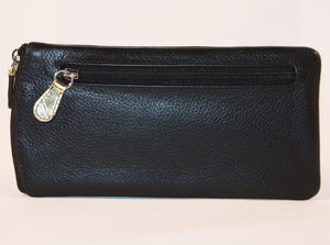 ILI Leather Sunglass Case Gold Design in Black