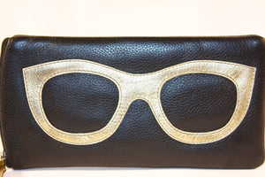 ILI Leather Eyeglasses/Sunglasses Case - Black & Gold
