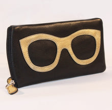 Load image into Gallery viewer, ILI Leather Sunglass Case Gold Design in Black