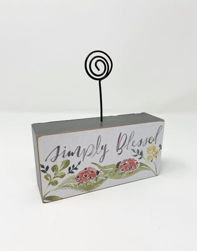 Simply Blessed Wood Block Photo Holder