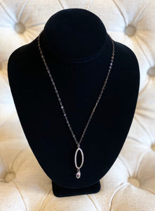 B-JWLD Drop Crystal Pendant Necklace on Gunmetal Chain