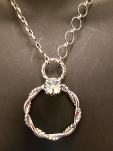 B-JWLD Large Silver Circle Pendant Necklace