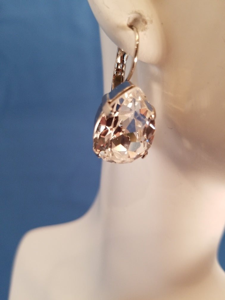 B-JWLD Silver Faceted Clear Pear Shaped Crystal Earrings