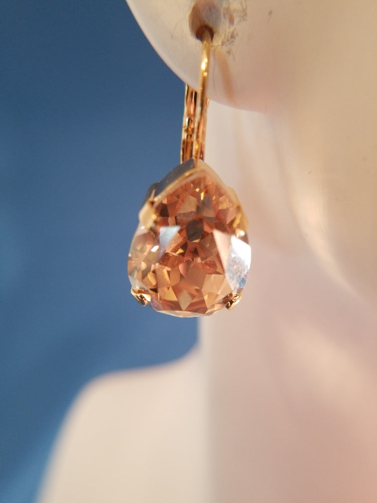 B-JWLD Gold Faceted Golden Pear Shaped Crystal Earrings