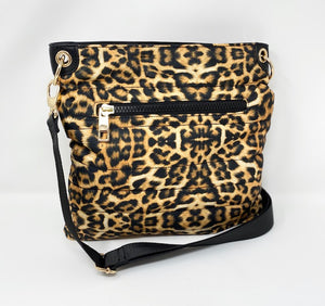 Sondra Roberts Quilted Puffer Crossbody Bag (Large) - Leopard