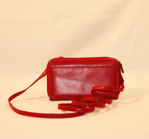 Red Leather Iphone Wristlet