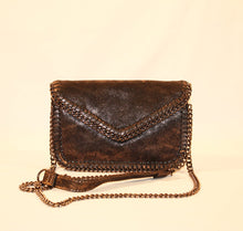 Load image into Gallery viewer, Sondra Roberts Chain Brown Nappa Envelope Crossbody