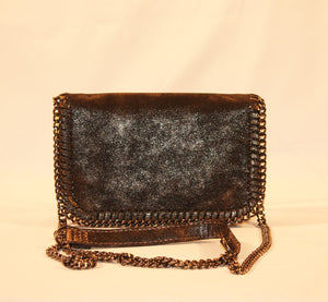 Sondra Roberts Chain Brown Nappa Envelope Crossbody