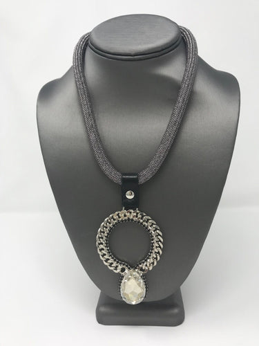 B-JWLD Large Silver Crystal Pendant Necklace