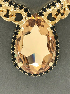 B-JWLD Large Gold Crystal Pendant Necklace