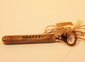 "Mud Pie Brass & Wood ""Cheers"" Bottle Opener"