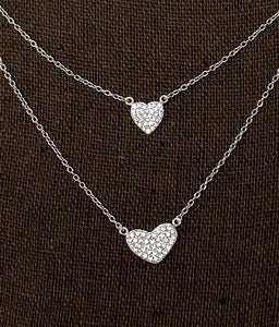 Style by Sophie Double Heart Layered Necklace - Silver Tone