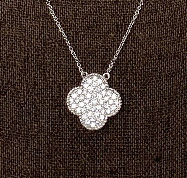 Style by Sophie Large Clover Necklace in White Gold Finish