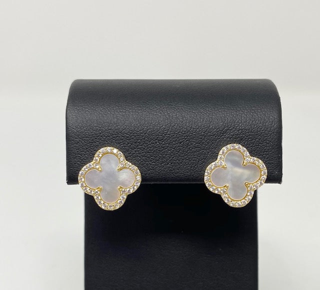 Style by Sophie Mother of Pearl Clover Earrings in Yellow Gold Finish