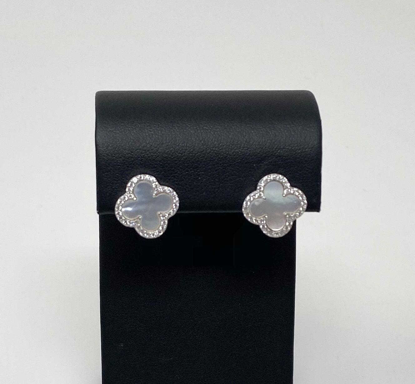Style by Sophie Clover Earrings in White Gold Finish