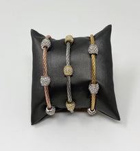 Load image into Gallery viewer, Twisted Cable Bracelet w/Triple CZ Barrel Beads - White Gold Tone