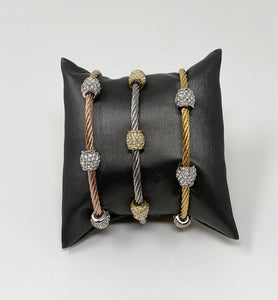 Twisted Cable Bracelet w/Triple CZ Barrel Beads - White Gold Tone