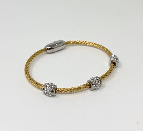 Twisted Cable Bracelet w/Triple CZ Barrel Beads - Yellow Gold Tone