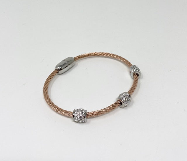 Twisted Cable Bracelet w/Triple Barrel CZ Beads - Rose Gold Tone