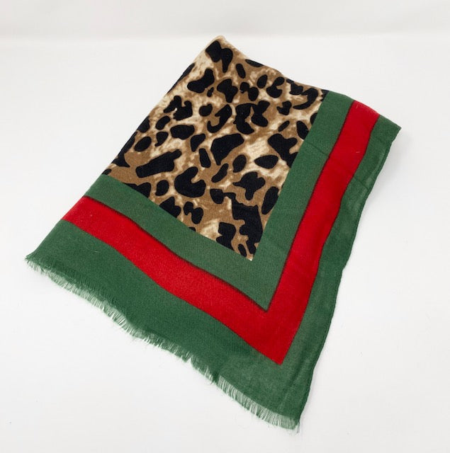 Leopard Shawl Scarf with Red & Green Striped Border