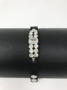 B-JWLD Black Leather Bracelet with Swarovski Crystal Accents