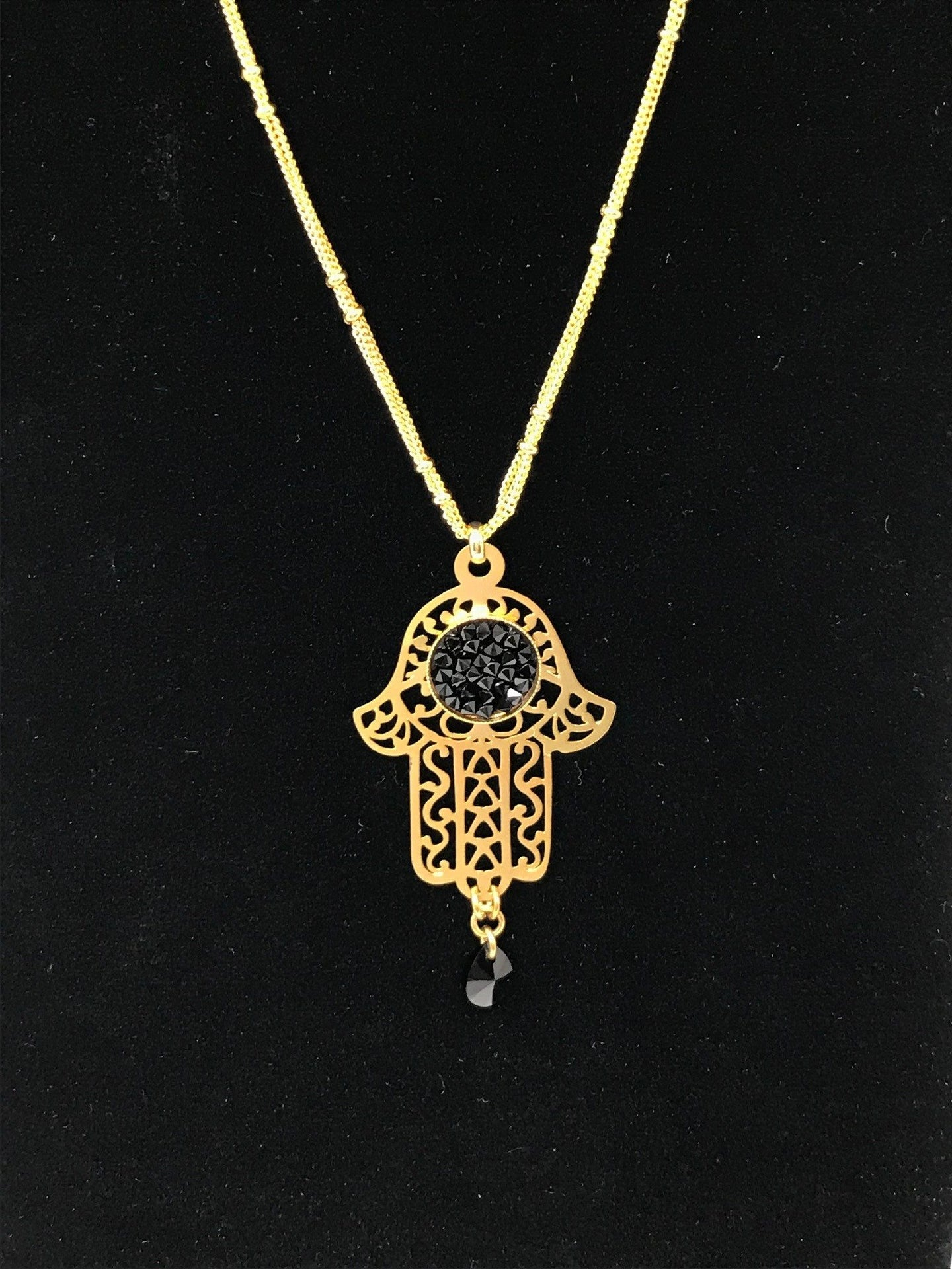 B-JWLD Gold Hamsa Amulet With Black Accent Necklace
