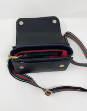 Load image into Gallery viewer, Sondra Roberts Crossbody Purse w/Stripe Guitar Strap - Black