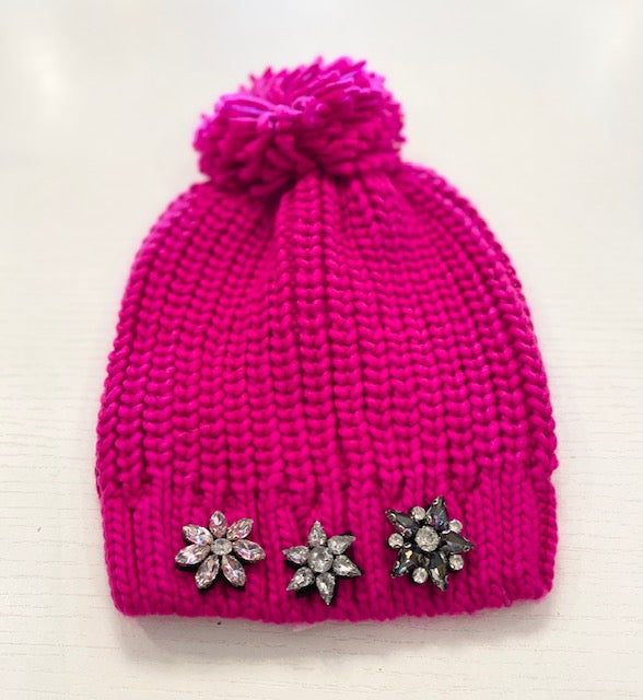 Hot Pink Knit Pom Pom Hat