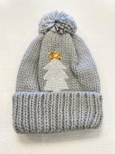 Grey Knit Hat w/White Sequin Tree