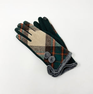 Women's Green & Red Plaid, Touchscreen Gloves