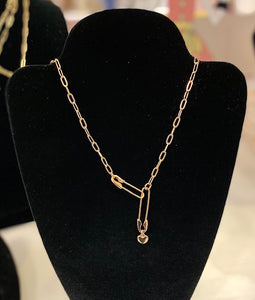 Safety Pin Link Necklace - Gold