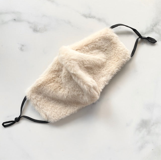 Faux Fur Mask - Ivory