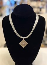 Load image into Gallery viewer, B-JWLD Corded Necklace with Large Square Crystal Pendant - Silver/Grey