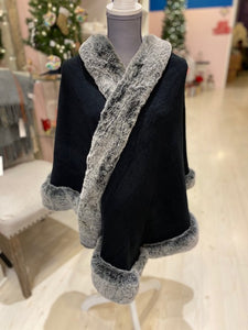 Black Knit Wrap with Faux Fur Trim