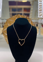 Load image into Gallery viewer, Open Heart Necklace with Crystal Barrel Accent - Large