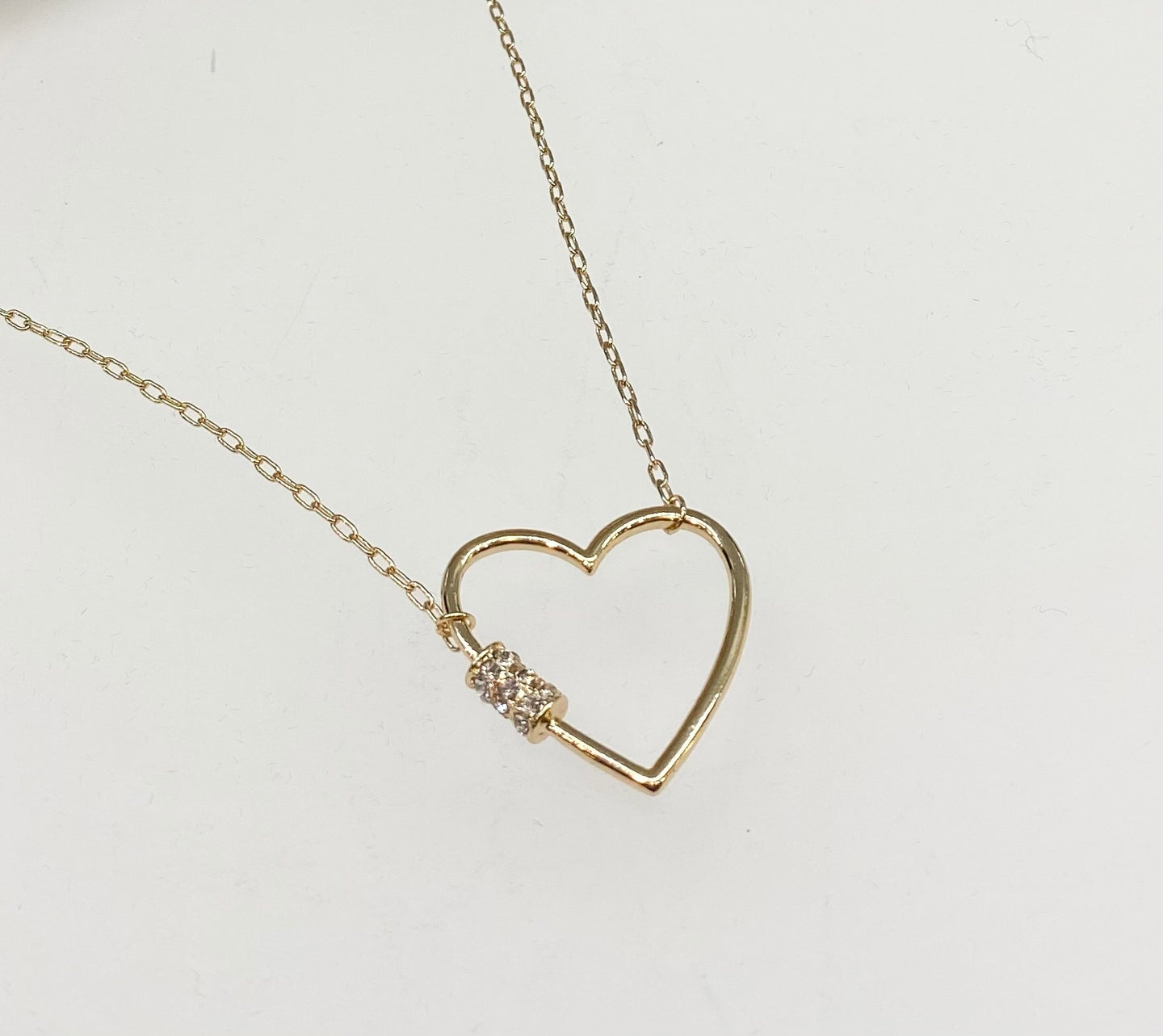 Open Heart Necklace with Crystal Barrel Accent - Large