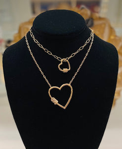 Open Heart Necklace with Crystal Barrel Accent - Small