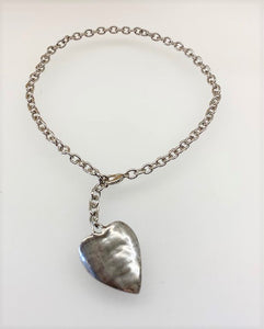 Hammered Heart Adjustable Necklace - Silver Tone