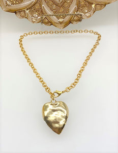 Hammered Heart Adjustable Necklace - Gold Tone