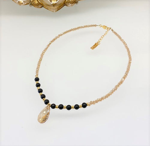 B-JWLD Pear Drop Crystal & Beaded Necklace - Gold Tone