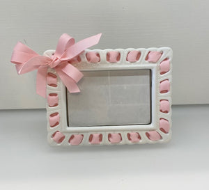Prissy Plates Frame with Pastel Pink Ribbon