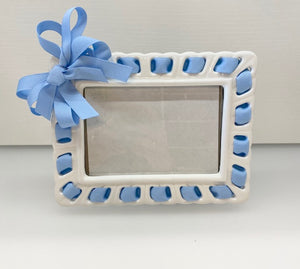 Prissy Plates Frame with Light Blue Ribbon