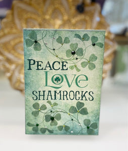 """Peace, Love, & Shamrocks"" Canvas Box Sign"