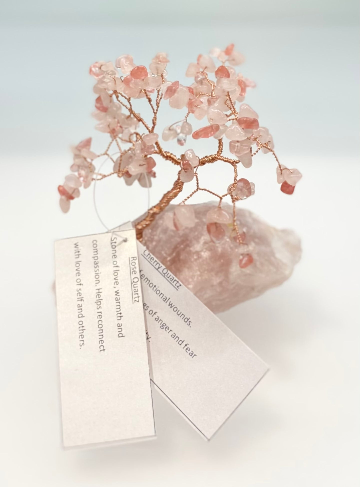 Healing Crystal Gemstone Tree - Rose & Cherry Quartz (large)