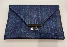 "Load image into Gallery viewer, Sondra Roberts Iridescent Blue ""Scales"" Clutch/Shoulder Bag"