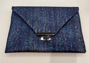 "Sondra Roberts Iridescent Blue ""Scales"" Clutch/Shoulder Bag"
