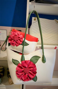 "Sondra Roberts White ""In Bloom"" Clutch with Red Statement Flower"