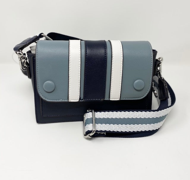 Sondra Roberts Crossbody w/Ocean Blue, Navy, & White Stripes