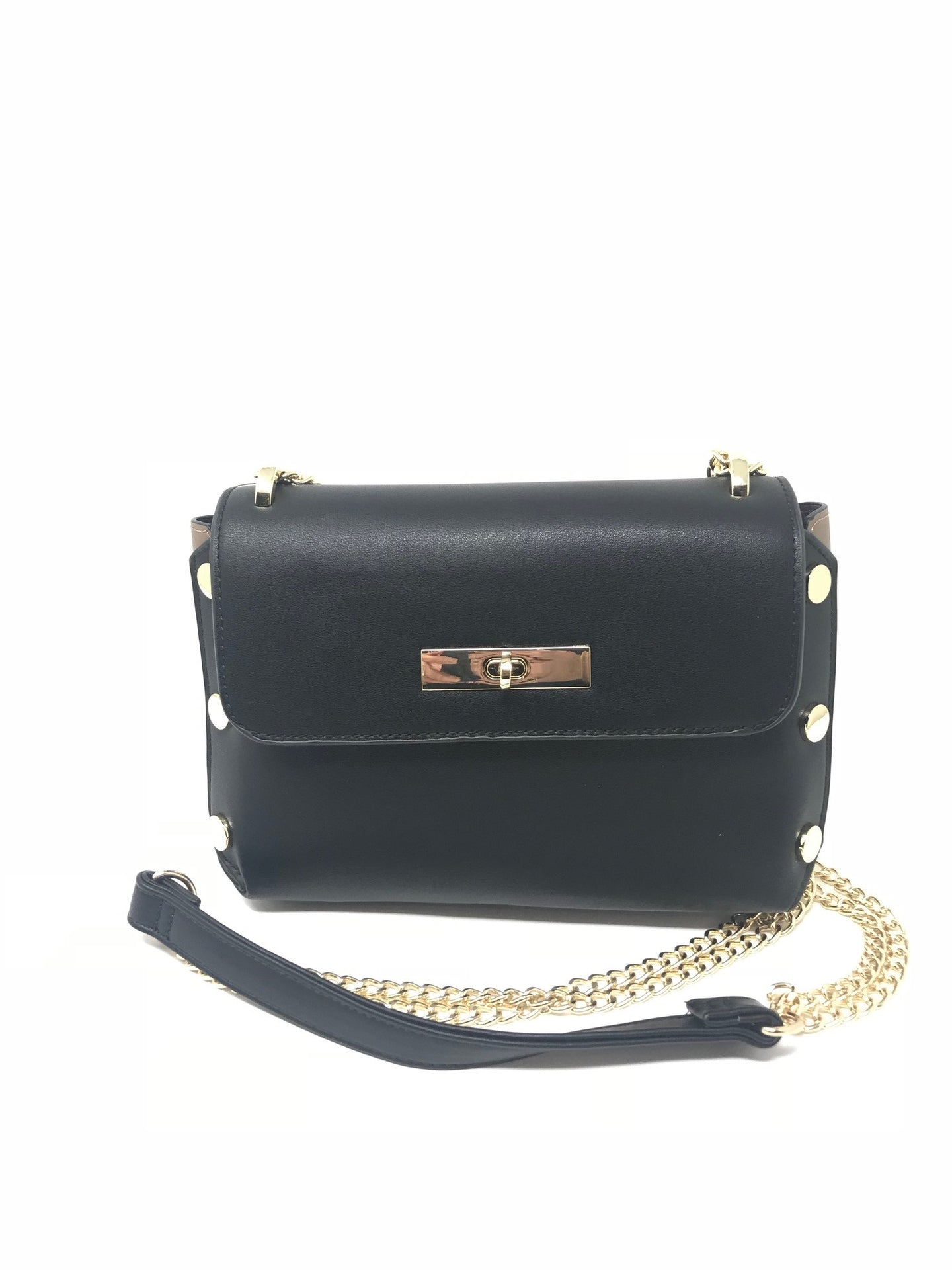 Sondra Roberts Black & Brown Crossbody with Gold Studs